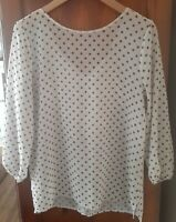 Sweet Pea for New York & Company Women polka dot 3/4 Sleeve Blouse small