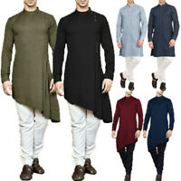 Mens Traditional Long Sleeve Tohbe Shirt Saudi Muslim Robe Dress Tops Tee Blouse