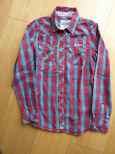 Pepe Jeans London Long Sleeved Shirt Size S Red Check Pattern 100% Cotton