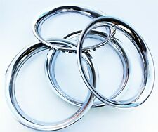 "Chrome Wheel Trim Rings (Band) 15"" set 4. Steel with Chrome Finish Band Ring"