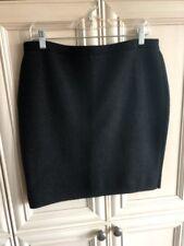 Evalu $198 Eileen Fisher Textured Wool Blend Skirt-Black/Gray- Sz Petite Large