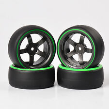 4X Double Color Drift Tires Wheel Rim For HSP HPI RC 1:10 On-Road Car PP0366GN