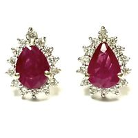 2.15 CARAT NATURAL RUBY AND DIAMOND EARRINGS 18K WHITE GOLD