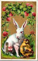Vintage 1911 Postcard Easter Bunny & Chick Winsch Postcard Gilded & Embossed