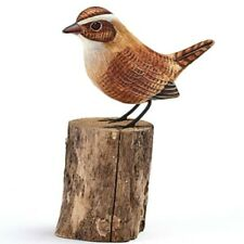 Hand Carved Wooden Painted Wren on a Tree Stump Garden Ornament Bird Carving
