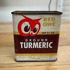 Vintage 1948 Red Owl Minneapolis Spice Tin Ground Tumeric 1.5 oz Tin Can Partial