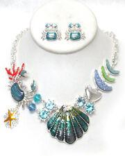 Sealife Ocean Wedding Shell Crab Starfish Crystal Statement Necklace Silvertone