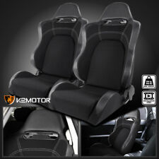 [Driver+Passenger] Reclinable Carbon Style Gray/Black Racing Seats w/Sliders