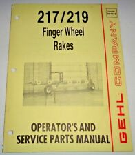 Gehl 217 219 Finger Wheel Rake Operators Parts Manual Catalog