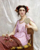 Oil painting Guillaume Seignac - vanity girl with roses flowers mirror seated