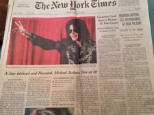 The New York Times, front page, June 26 2009. Michael Jackson Dies at 50