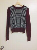 TOMMY HILFIGER 100% wool + cotton sweater maroon jumper, BNWOT NEW, size XS S