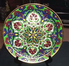 Lovely Keramikos By Rodos Keramik Hand Made Floral Embossed Gilded Wall Plate