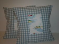 "CATH KIDSTON BOATS & LAURA ASHLEY GINGHAM DUCK EGG PAIR OF 16"" CUSHION COVERS"