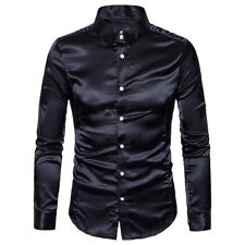 Mens Silk Shirt Men Satin Smooth Solid Tuxedo Shirt Business Chemise Homme KGU