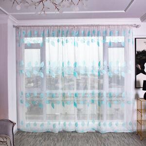 Small Fresh Leaf Print Curtains Clear Home Window Decor Curtains P3