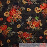 BonEful Fabric FQ Cotton Quilt VTG Brown Orange Pumpkin Gold Metallic Sun*Flower