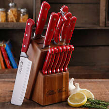 Red 14 Kitchen Knife Set Block The Pioneer Woman Stainless Steel Cutlery Knives