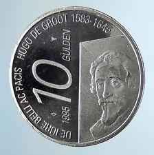 1995 NETHERLANDS Queen Beatrix Hugo De Groot Proof Silver 10 Gulden Coin i74964