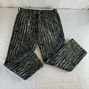 Cabela's VTG Whitetail Clothing Fleece Camo Bark Heavyweight Pants Sz L USA Hunt