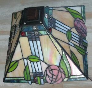 """VTG TIFFANY STYLE STAINED GLASS JEWELED LEAD GLASS LAMP SHADE FLORAL/ LEAF 11"""""""