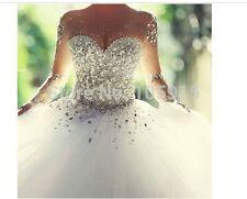 Neu Luxus Brautkleid Ballkleid Abendkleid Kristall Organza Lange Hochzeitskleid