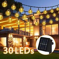 Solar String Lights Garden, 6.5M 30 LEDs 8 Modes Crystal Ball Decorative