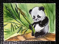"Original art by Bastet ""Panda"" OOAK hand painted ACEO"