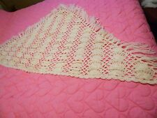 """Ladie's Ivory Shawl - Hand-crocheted - 66"""" Wide, 35"""" Long - Vintage"""