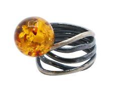 Moderner oxidierter 925 Sterling Silber Ring mit Cognac Bernstein Kugel 16/56