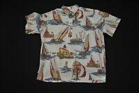 VTG Reyn Spooner Hawaiian Shirt Hawaii Men's Large L Hotel Del Coronado Sailboat