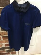 Mens Blue Polo Shirt Size L