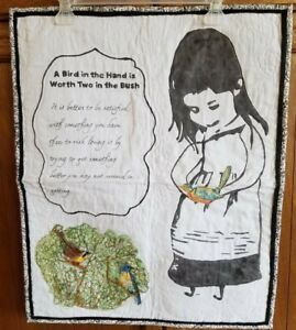 """Homemade Wall Hanging Quilt 20"""" X 24 1/2"""" A Bird in the Hand"""