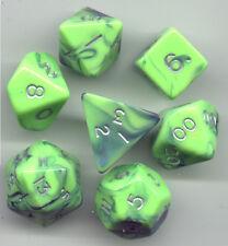RPG Dice Set of 7 - Toxic Green-Blue D4 D6 D8 D10 D12 D20 D00-90