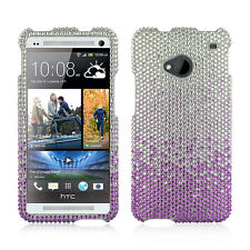 For HTC ONE / M7 Crystal Diamond BLING Hard Case Phone Cover Gradient Purple