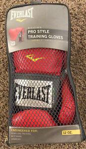 Red Everlast boxing Pro Style Training Gloves 12oz Heavy Bag Training