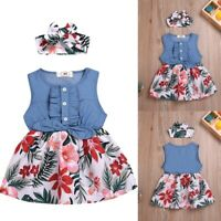 Toddler Baby Girls Sleeveless Bow Flower Leaf Print Denim Dress+Headband Outfits