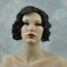Beautiful Dark Brown Fingerwave 1920s, 1930s Curly Gatsby Flapper Wig!