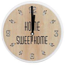 Sommer Wanduhr komplett aus Holz HOME SWEET HOME ~ Kaktus Muster ~ natur/beige ~