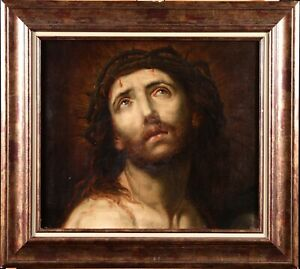 18th CENTURY LARGE FRENCH OLD MASTER OIL ON CANVAS - CHRIST & CROWN OF THORNS