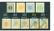 1874-86 Sweden Postage Due stamps: SC# J11; J12~J22, MH or Used, CV=$170