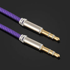 1m Strong Braided 3.5mm Jack to Jack Stereo Plug Aux Audio Auxiliary Cable Lead