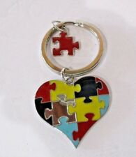 "Key Ring Heart Shape ""Until All the Pieces Fit"" plus Single Puzzle Piece"