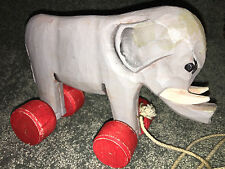"WOODEN ELEPHANT With Wheels PULL TOY Circus 9"" VINTAGE COLLECTIBLE Carved Wood"