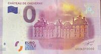 BILLET 0  EURO CHATEAU DE CHEVERNY  FRANCE 2016  NUMERO 10000 DERNIER BILLET