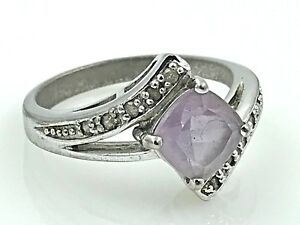 VINTAGE .925 Sterling Silver, Square Amethyst & Diamond Trim Ring, Size 7.75