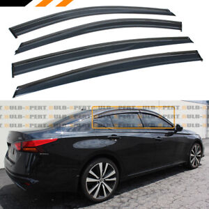 FOR 2019-2021 NISSAN ALTIMA BLACK TRIM CLIP-ON WINDOW VISOR RAIN GUARD DEFLECTOR