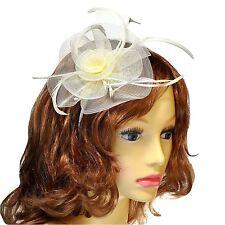Cream Feather Plume & Gauze Lily Design Headband Fascinator