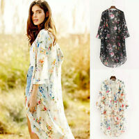 New Boho Women Floral Long Jacket Kimono Cardigan Cape Beach Top Bouse Shirt