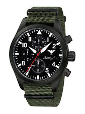 KHS Tactical Pilot Watches Black Steel Chronograph Army Band Oliv KHS.AIRBSC.NO